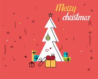 Merry Christmas and new year greeting card design. Holiday line art icon ornament decoration illustration royalty free illustration