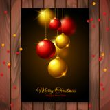 Merry Christmas and New Year Greeting card with Stock Photo