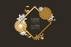 Merry Christmas, New Year greeting card. Vector holiday frame on black background with golden paper stars, snowflakes. Royalty Free Stock Photos