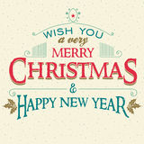 Merry Christmas and New Year greeting card Royalty Free Stock Images