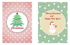 Merry christmas and new year greeting christmas card with cute snowman and christmas fir-tree Stock Images