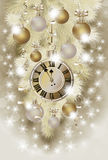 Merry Christmas and New Year greeting wallpaper with xmas clock Royalty Free Stock Image