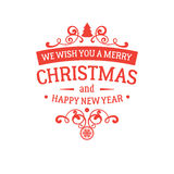 Merry Christmas and New Year greetings badge Stock Photos