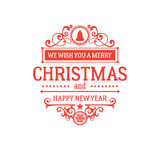 Merry Christmas and New Year greetings classic badge Stock Image