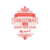 Merry Christmas and New Year greetings classic badge Royalty Free Stock Photo