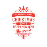 Merry Christmas and New Year greetings classic badge Royalty Free Stock Photography