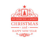 Merry Christmas and New Year greetings classic badge Royalty Free Stock Image