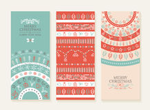 Merry christmas new year holiday doodle banner set Stock Photos