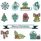 Merry christmas and new year icons. Stock Images