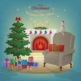 Merry Christmas and New Year interior with fireplace, Christmas tree, armchair, boxes with gifts, candles, socks, decorations, cat Royalty Free Stock Photo