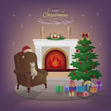 Merry Christmas and New Year interior with fireplace. Christmas tree, armchair, boxes with gifts, candles, Santa Claus hat, decorations, cat, stars. Waiting Royalty Free Stock Photo