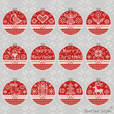 Merry Christmas and New Year knitted ball set Stock Photography