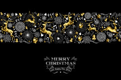 Merry christmas new year label pattern gold deer. Merry christmas happy new year label design with holiday seamless pattern, reindeer silhouette and xmas Stock Image
