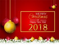 Merry Christmas and New Year with a lamp on the grass on a red background. Merry Christmas and New Year with a lamp on the grass stock illustration