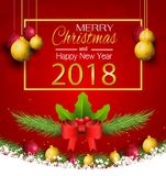 Merry Christmas and New Year with a lamp on the grass on a red background. Merry Christmas and New Year with a lamp on the grass royalty free illustration