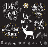 Merry Christmas and New Year lettering collection. Christmas and New Year 2017 lettering and decorative elements collection. Vector illustration set for greeting Stock Photos