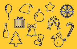 Merry Christmas and New Year line icons. Set, outline vector symbol collection, linear pictogram pack isolated on yellow, logo illustration stock illustration