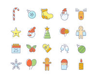 Merry christmas, New Year line winter decoration icons symbols. Royalty Free Stock Image