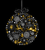 Merry christmas new year ornament ball gold deer Stock Photos