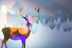 Merry christmas new year paper cut bokeh deer Royalty Free Stock Photography