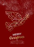 Merry christmas new year peace dove outline gold. Merry Christmas Happy New Year peace dove in outline art deco geometry style, fancy gold and red design. Ideal Royalty Free Stock Images