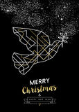 Merry christmas new year peace dove outline gold. Merry Christmas Happy New Year peace dove in outline art deco geometry style, fancy gold and white design royalty free illustration