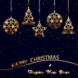 Merry christmas and new year postcard Royalty Free Stock Images