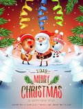 2019 Merry Christmas & New Year poster. Santa Claus Snowman, and symbol of 2019 year Pig. Sing a Christmas song around the Christmas tree in a snowy meadow vector illustration