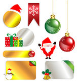 Merry Christmas and New Year promotion label.  Royalty Free Stock Photography