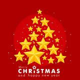 Merry christmas and new year, red background with golden 3d stars, christmas banner, postcard. Stock Images