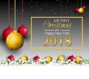 Merry Christmas and New Year 2018 with a red bow and grass on a black background. Merry Christmas and New Year 2018 with a red bow and grass vector illustration
