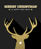 Merry Christmas New Year reindeer silhouette gold Royalty Free Stock Photo