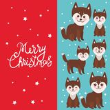 Merry Christmas New Year`s card design funny brown husky dog, Kawaii face with large eyes and pink cheeks, boy and girl on blue r. Ed background. Vector stock illustration
