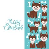Merry Christmas New Year`s card design funny brown husky dog and white bones, Kawaii face with large eyes and pink cheeks, boy an. D girl on blue background royalty free illustration