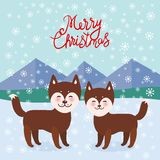 Merry Christmas New Year`s card design Kawaii funny brown husky dog, face with large eyes and pink cheeks, boy and girl, mountain. Landscape snowflakes stock illustration