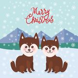 Merry Christmas New Year`s card design Kawaii funny brown husky dog, face with large eyes and pink cheeks, boy and girl, mountain. Landscape snowflakes vector illustration