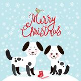 Merry Christmas New Year`s card design Kawaii funny white black dog, face with pink cheeks, on blue background. Vector. Illustration vector illustration