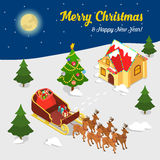Merry Christmas New Year Santa village house flat isometric 3d. Merry Christmas Happy New Year flat 3d isometry isometric concept web infographics vector leaflet vector illustration