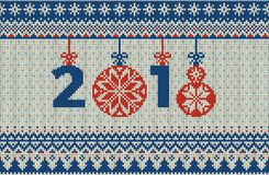 Merry Christmas and New Year seamless knitted pattern with Christmas balls, snowflakes and fir. Scandinavian style Royalty Free Stock Photography