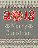 Merry Christmas and New Year seamless knitted pattern with Christmas balls, snowflakes and fir. Scandinavian style Royalty Free Stock Image
