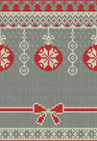 Merry Christmas and New Year seamless knitted pattern with Christmas balls, snowflakes and fir. Scandinavian style Stock Images