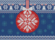 Merry Christmas and New Year seamless knitted pattern with Christmas balls, snowflakes and fir. Scandinavian style. Winter Holiday. Sweater Design. Vector royalty free illustration