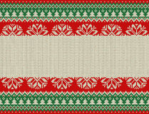 Merry Christmas and New Year seamless knitted pattern with Christmas balls, snowflakes and fir. Scandinavian style. Winter Holiday Royalty Free Stock Images