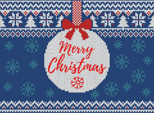 Merry Christmas and New Year seamless knitted pattern with Christmas balls, snowflakes and fir. Scandinavian style. Winter Holiday. Sweater Design. Vector stock illustration