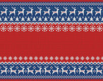 Merry Christmas and New Year seamless knitted pattern with Christmas balls, snowflakes and fir. Scandinavian style. Winter Holiday. Sweater Design. Vector vector illustration