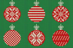 Merry Christmas and New Year seamless knitted pattern with Christmas balls and snowflakes. Scandinavian style. Winter Holiday. Sweater Design. Vector vector illustration