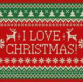 Merry Christmas and New Year seamless knitted pattern with lettering I LOVE CHRISTMAS, deer, snowflakes and fir. Scandinavian style. Winter Holiday Sweater royalty free illustration