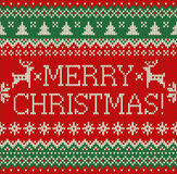 Merry Christmas and New Year seamless knitted pattern with lettering MERRY CHRISTMAS, deer, snowflakes and fir. Scandinavian style. Winter Holiday Sweater vector illustration