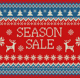 Merry Christmas and New Year seamless knitted pattern with lettering SEASON SALE, deer, snowflakes and fir. Scandinavian style. Wi. Nter Holiday Sweater Design royalty free illustration