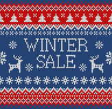 Merry Christmas and New Year seamless knitted pattern with lettering WINTER SALE, deer, snowflakes and fir. Scandinavian style. Wi. Nter Holiday Sweater Design royalty free illustration